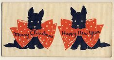 Lovely folding 1920s christmas greetings card with illustrations of Scottish Terriers.    Measures approx 5 1/2 x 2 3/4 (14.5cm x 7cm)    This is a