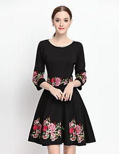 YZXH++Women's+Casual/Daily+Vintage+A+Line+DressEmbroidered+Round+Neck+Above+Knee+Long+Sleeve+Black+Others+Fall+Mid+Rise+Inelastic+Medium+–+USD+$+45.99