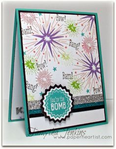 """""""You're the Bomb"""" card created with Close To My Heart's June 2014 Stamp of the Month, """"Kaboom"""". Uses CTMH's Cricut Art Philosophy cartridge and various other CTMH products. Created by Tamytha Jenkins of www.paperheartist.com"""