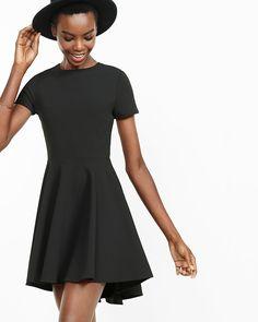 short sleeve hi lo hem fit and flare dress