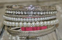 Silver and Pearl Bangle Set Winter 2014 (Giddyupglamouronline.com)...love these. -kjm