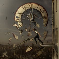 Stop the tick tocks and trust in your eternal self. Immerse into this moment, and the secrets of the universe will be revealed to you. Leap into infinity, because when time dies the soul flies. Art Du Temps, Clock Art, Clocks, Father Time, Vanitas, Time Art, Surreal Art, Dark Art, Time Travel