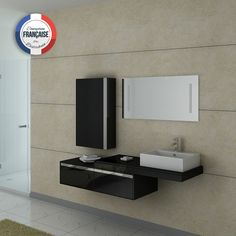 dis9550n meuble salle de bain noir - Salle De Bain Noir Et Taupe