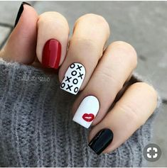 Heart Nail Designs, Valentine's Day Nail Designs, Simple Nail Designs, Nails Design, Nail Designs With Hearts, Acrylic Nail Designs, Heart Nails, My Nails, Prom Nails
