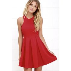 Mission Com-pleat Red Dress ($46) ❤ liked on Polyvore featuring dresses, red, circle skirt, red circle skirt, red halter top, flared skirt and halter cocktail dress