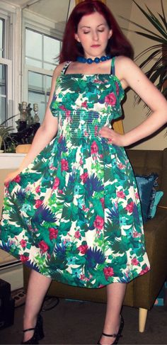 Craft, Thrift, or Die: It's cool, I'm only wearing this ironically: flowery refashions. thrift store dress refashion