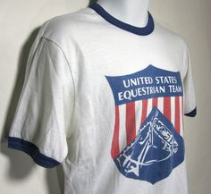 Vintage United States Equestrian Team 1984 Olympics Ringer T-Shirt Sz.L 1980's. $24.00, via Etsy.