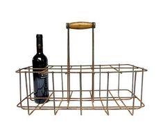 Old rack metal french - basket 10 bottles in iron - vintage bottle rack - industrial kitchen retro