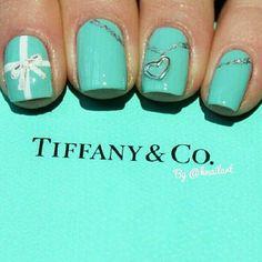 another version of the Tiffany nails - Tiffany and Co. Nails by knailart So Nails, How To Do Nails, Cute Nails, Pretty Nails, Hair And Nails, Aqua Nails, Bling Nails, Tiffany Und Co, Azul Tiffany