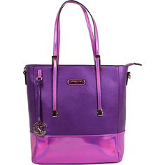 Nicole Lee Sian Hologram Shopper Bag - Purple - Totes ($64) ❤ liked on Polyvore featuring bags, handbags, tote bags, purple, monogrammed tote bags, shopper tote bag, nicole lee handbags, zip tote and pocket tote