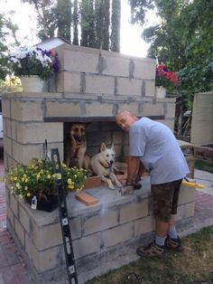 Getting help from pups on this DIY outdoor fireplace build. This is the Prescott. Getting help fro Outdoor Fireplace Plans, Outside Fireplace, Outdoor Fireplace Designs, Backyard Fireplace, Diy Fireplace, Backyard Patio, Outdoor Fireplaces, Backyard Ideas, Firepit Ideas