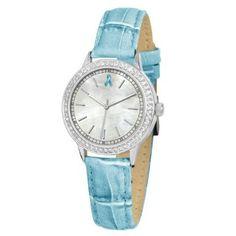 "Ewatchfactory Women's 56275-H Ovarian Cancer Awareness ""Sparkle"" Teal Strap Watch"