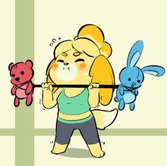 Isabelle is getting ready for Smash! by BrachyArtz on DeviantArt Animal Crossing Fan Art, Animal Crossing Memes, Chibi, Super Smash Bros Memes, Another Anime, New Leaf, Fire Emblem, My Animal, Nintendo