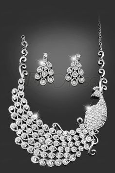 Fantastic Peacock Shaped Alloy with Rhinestone Wedding Jewelry Set(Including Necklace and Earrings)