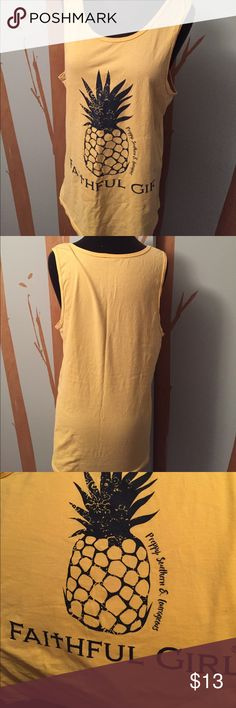 Pineapple tank top No tags but I love the color and the pineapple 🍍 on this tank top I believe it could be a Sumply Southern Brand because of the words printed on it Measures 38 Bust ill call it a large EUC Tops Tank Tops