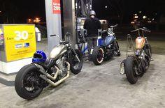 Three Honda Shadow customs at gas stations Honda Shadow Bobber, Honda Bobber, Bobber Bikes, Bobber Motorcycle, Moto Bike, Honda Motorcycles, Custom Motorcycles, Custom Bikes, Honda Steed