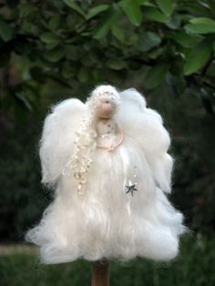 Angel Christmas topper Waldorf inspired Needle felted Tree top Fairy topper