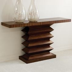 Limited Production Design & Stock: Contemporary Zebra Wood Accordion Console Table * 34 x 59 x 16 inches * Partner Dining Table & Side Tables Available Woodworking Furniture, Wood Furniture, Woodworking Projects, Woodworking Plans, Diy Wood Projects, Wood Crafts, Intarsia Woodworking, Console Table, Dining Table