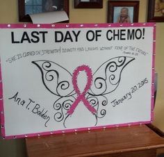 "This is a handmade poster board proudly announcing the ""Last Day of Chemo."" This poster is made of foamcore and is 30 X 20. The board comes with a handsketch of a butterfly with a pink ribbon in the middle. The board can include your favorite bible verse or just an inspiration message. It also includes the person's name and last day date.   Breast Cancer Awareness  Chemo  This is a perfect gift for the survivor in your life to take on their last day or to proudly frame and display in the…"