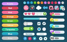 ricimi : Cartoon GUI Pack is a customizable, mobile-friendly game UI pack containing many elements that can be used to create a complete game with a nice cartoon look. Game Gui, Game Icon, Game Ui Design, App Design, Ui Buttons, Button Game, Game Concept, Game Assets, Ui Inspiration