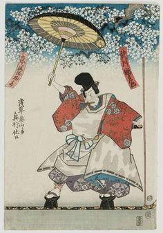 Utagawa Kunitaka: Acrobat from Osaka performing at Asakusa - Museum of Fine Arts
