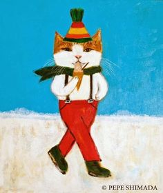 """Ice Skating"" <=> Acrylic on Canvas Artist Pepe Shimada Copyright © PEPE SHIMADA All Rights Reserved"