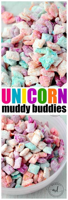 Unicorn Poop Muddy Buddies: Easy Chex Mix Muddy Buddy Recipe for a rainbow unicorn treat fun quick easy! Unicorn Poop Muddy Buddies: Easy Chex Mix Muddy Buddy Recipe for a rainbow unicorn treat fun quick easy! Chex Mix Muddy Buddies, Muddy Buddies Recipe, Party Unicorn, Unicorn Birthday Parties, Cake Birthday, Birthday Ideas, 4th Birthday, Birthday Gifts, Birthday Recipes