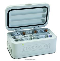 Amazon's Trusted and Best Selling Diabetic Supplies -- MediCooler Insulin Micro Fridge, Mini insulin fridge -- Lightweight and portable for those with diabetes who are active and travel. Refrigerates up to 9 bottles of insulin or 3 prefilled pens, keeping the medication between 36 and 46 degrees.  http://diabeticshoessuppliesfootcare.com/best-selling-diabetic-supplies#MediCooler