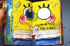 Color outside of the lines.. SPONGEBOB!!!(: #wreckthisjournal #wtj