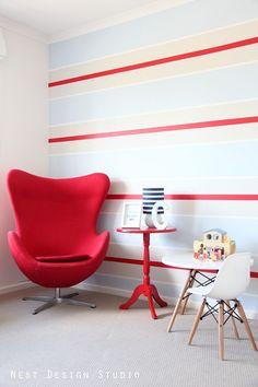 Modern Baby Boy Nursery; Wall Stripes; Red, Blue