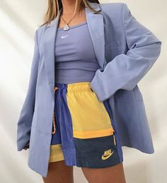 blue and yellow sportswear fashion outfit inspo Mode Outfits, Retro Outfits, Cute Casual Outfits, Vintage Outfits, Summer Outfits, Fashion Outfits, Vintage Fashion, Summer Shorts, Modest Fashion