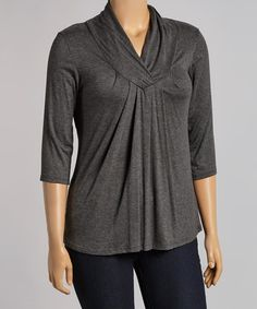 Loving this Charcoal Pleated Surplice Top - Plus on #zulily! #zulilyfinds