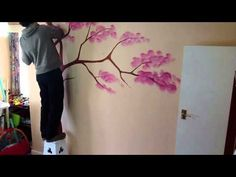 Wall tree painting time-lapse - YouTube