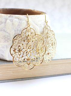 Big Gold Earrings Lace Filigree Earrings Large Dangle Spanish