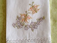 Butterfly Blossom Linen Tea Towel Hand #Embroidery by countrygarden, $12.00