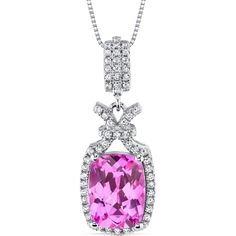 MSRP: $339.99    Our Price: 139.99    Savings: 200.00         Item Number: SP10972    Availability: Usually Ships in 5 Business Days         PRODUCT DESCRIPTION:    Crafted in Fine Sterling Silver, this beautiful pendant for her features an intricate, vintage design with a Lab-Created Pink Sapphire perfectly framed by a halo of sparkling white Cubic Zirconia. This Pendant features exceptional design, craftsmanship and finishing.          FEATURES:      	.925 Sterling Silver  	(1) 11.0 x…
