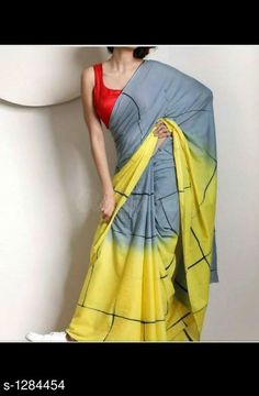 Steel Grey and Yellow Tie-&-Dye Pure Cotton Saree Cotton Sarees Handloom, Ikkat Silk Sarees, Shibori Sarees, Grey Saree, Yellow Saree, Jute, Indian Attire, Indian Wear, Indian Style