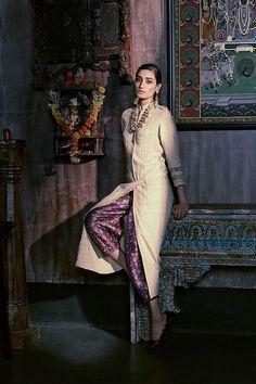 Safari dress in Verve, India Fashion, Suit Fashion, Asian Fashion, Indian Dresses, Indian Outfits, Indo Western Kurti, Desi Wear, Indian Fabric, Indian Designer Outfits