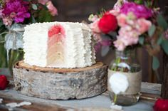 pink ombre cake layers
