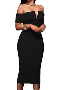 e46fde266aaf Alvaq Women s Sexy V Neck Off The Shoulder Evening Bodycon Club Midi Dress  Valentines Day Dress