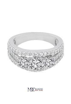 Three Stone Split Band Diamond Engagement Ring 1.35 tcw.