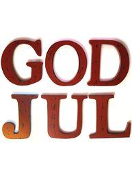 Stora mörkt röda träbokstäver GOD JUL shabby chic lantlig stil - 299 kr