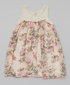 Cream & Taupe Floral Babydoll Dress - Toddler & Girls by Free Planet #zulily #zulilyfinds