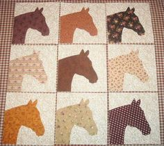 Jump start your baby or wall quilt with my quilt blocks. 9 Western Horse Head Quilt Top Blocks NO SLICE FEE Colchas Quilt, Boy Quilts, Quilt Top, Quilt Blocks, Quilt Block Patterns, Applique Patterns, Applique Quilts, Quilting Projects, Quilting Designs