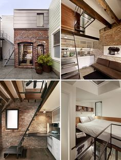 This old laundry boiler room was transformed into a guest apartment /// Instead of having this little unused space in San Francisco removed, designer Christi Azevedo was asked to transform it into a full service guest apartment. It might not look like it from the outside, but by adding height to the original brick building, it allows enough space to include a kitchen, living area, bathroom and a bedroom.