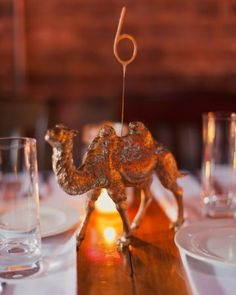 Table Animals topped with sparkler numbers