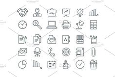 Set of business line icons. by Finevector on @creativemarket