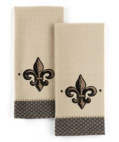 Take A Look At This Fleur De Lis Applique Embroidered Dish Towel   Set