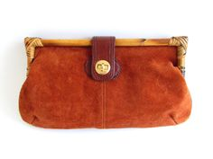 Vintage Leather Clutch Purse, Top Grain Suede Clutch Handbag with Bamboo by FoxLaneVintage on Etsy Eclectic Decor, Clutch Purse, Vintage Leather, Leather Clutch, Bamboo, Vintage Jewelry, Decor Ideas, Purses, Brown