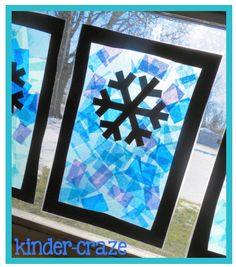 """stained glass"" winter window decorations made with contact paper and tissue paper"